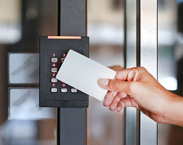 Image of keycard touchpad used in an access control system.