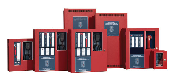 Bank of Firelite equipment for fire alarm system.