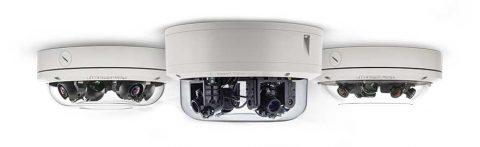 Bank of omni-directional surveillance cameras.