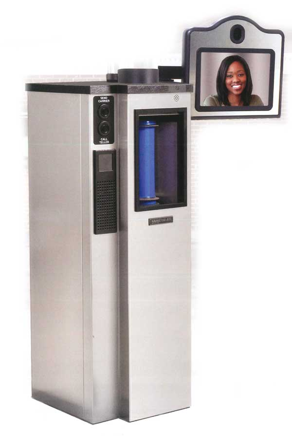 Bank pneumatic canister system with two-way teller video conferencing.