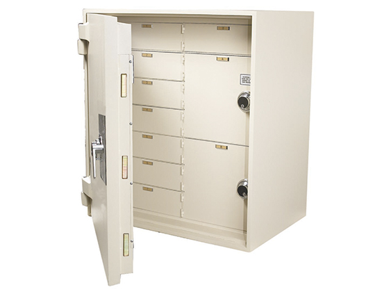 Steel safe with multiple internal storage areas.