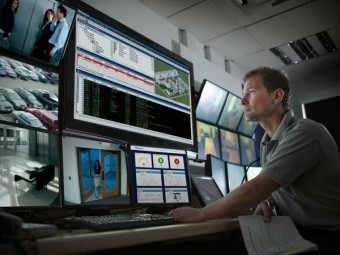 Security and monitoring system control room.